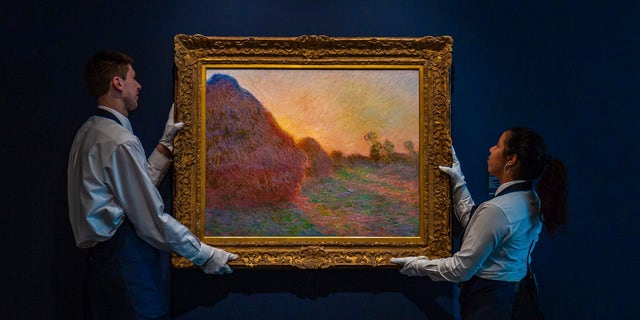"This undated photo provided by Sotheby's shows Claude Monet's painting titled ""Meules."""