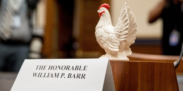 Rep. Steve Cohen, D-Tenn., placed a prop chicken on the witness desk for Attorney General William Barr after he does not appear before a House Judiciary Committee hearing on Capitol Hill in Washington.
