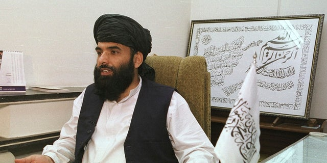 Suhail Shaheen, then deputy ambassador of the Islamic Republic of Afghanistan, gives an interview in Islamabad, Pakistan. (Associated Press)