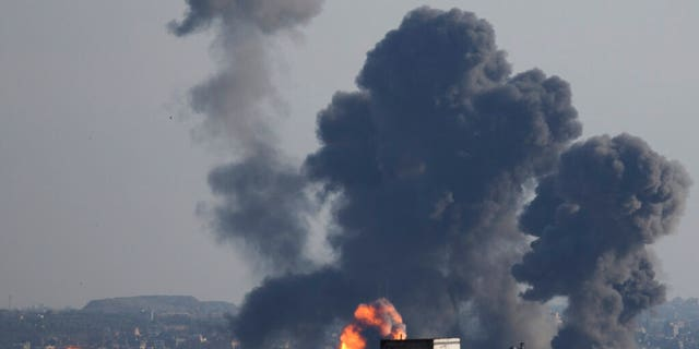 Israeli airstrike hits Gaza City, Saturday, May 4, 2019. Palestinian militants in the Gaza Strip fired at least 90 rockets into southern Israel on Saturday, according to the Israeli military, triggering retaliatory airstrikes and tank fire against militant targets in the blockaded enclave and shattering a month-long lull in violence.