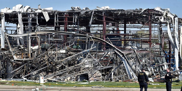 Emergency personnel work at the scene of an explosion at AB Specialty Silicones on Sunset Ave. and Northwestern Ave. on the border between Gurnee, Ill., and Waukegan on Saturday, May 4, 2019. The explosion happened Friday night. (Associated Press)