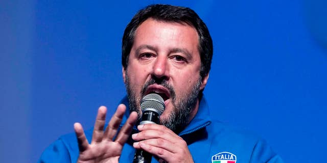Italian Deputy Premier and Interior Minister, Matteo Salvini, addresses a rally in Rome, Sunday, May 5, 2019. (Angelo Carconi/ANSA via AP)