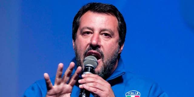 Italian Deputy Premier and Interior Minister, Matteo Salvini, addresses a rally in Rome, Sunday, May 5, 2019. (Angelo Carconi/ANSA via AP)