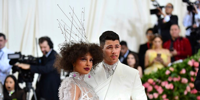 "Priyanka Chopra, left, and Nick Jonas attend The Metropolitan Museum of Art's Costume Institute benefit gala celebrating the opening of the ""Camp: Notes on Fashion"" exhibition on Monday, May 6, 2019, in New York. (AP)"