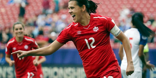 FILE - In this Oct. 14, 2018, file photo, Canada forward Christine Sinclair celebrates after scoring a goal in the second half of a soccer match at the CONCACAF women's World Cup qualifying tournament against Panama in Frisco, Texas. (AP Photo/Andy Jacobsohn, File)