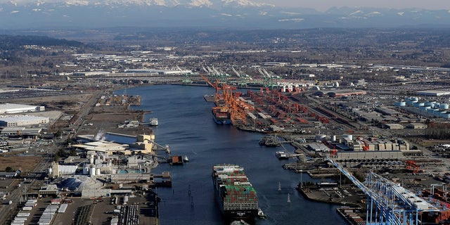 In this March 5, 2019 photo, a cargo ship arrives at the Port of Tacoma, in Tacoma, Wash. U.S. and Chinese negotiators resumed trade talks Friday, May 10, 2019, under increasing pressure after President Donald Trump raised tariffs on $200 billion in Chinese goods and Beijing promised to retaliate. (Associated Press)
