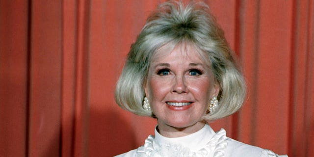 Doris Day after receiving the Cecil B. DeMille Award onJan. 28, 1989 at the annual Golden Globe Awards ceremony in Los Angeles. (AP Photo, File)