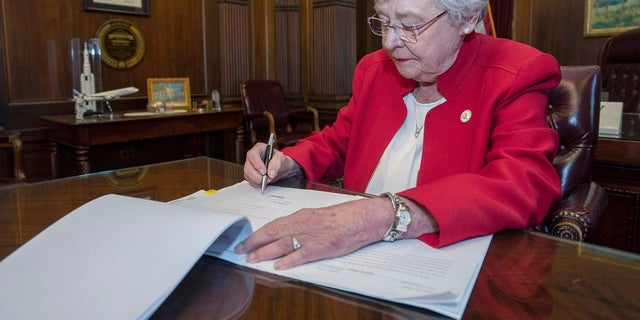 Alabama Gov. Kay Ivey signs a bill that virtually outlaws abortion in the state on Wednesday, May 15, 2019, in Montgomery. (Hal Yeager/Alabama Governor's Office via AP)
