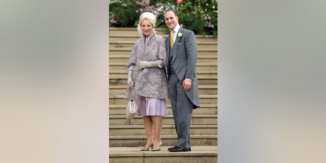 Princess Michael of Kent and Frederick Windsor arrive for the wedding of Lady Gabriella Windsor and Thomas Kingston at St George's Chapel, Windsor Castle, near London, England, Saturday, May 18, 2019. (Chris Jackson/Pool via AP)