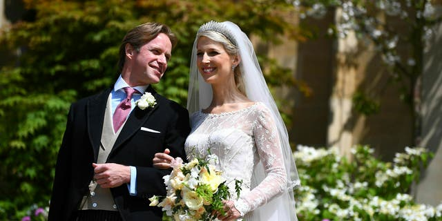 Newlyweds Thomas Kingston and Lady Gabriella Windsor on the steps of the chapel after their wedding at St George's Chapel, Windsor Castle, near London, England, Saturday, May 18, 2019. (Victoria Jones/Pool via AP)