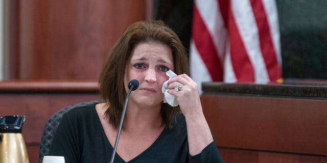 Amber Jones cries from the testimony while questioning the 11th Circuit Deputy Solicitor Suzanne Mayes during the trial of his former husband, Tim Jone.