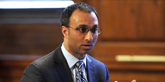 In this March 28, 2012, file photo, Amit Mehta, then the attorney for Dominique Strauss-Kahn, speaks in Bronx state Supreme Court in New York. Judge Amit Mehta ruled Monday, May 20, 2019, that President Donald Trump cannot block the House subpoena of financial records. (Stan Honda/Pool Photo via AP, File)
