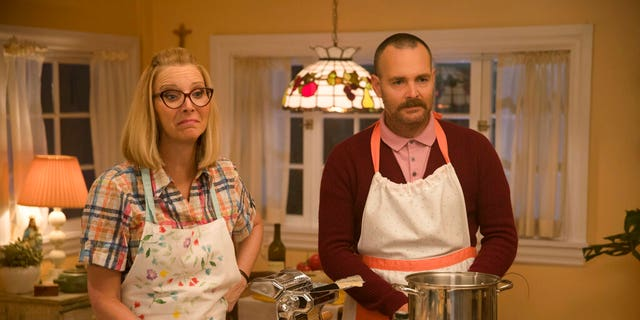 "Lisa Kudrow, left, and Will Forte in a scene from the film ""Booksmart,"" directed by Olivia Wilde."