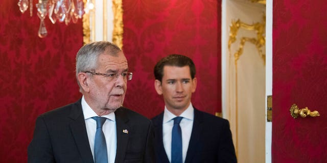 Austrian President Alexander Van der Bellen, right, and Austrian Chancellor Sebastian Kurz, left attending an inauguration ceremony at Hofburg palace in Vienna, Austria, Wednesday, May 22, 2019. Austrian Chancellor Sebastian Kurz has called for an early election after the resignation of his vice chancellor Heinz-Christian Strache from the Freedom Party spelled an end to his governing coalition.