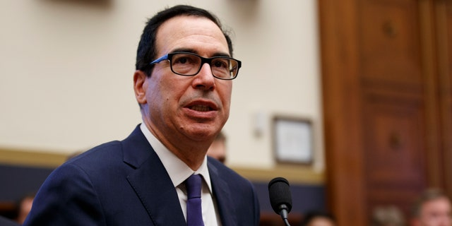 Treasury Secretary Steven Mnuchin testifies before the House Committee on Financial Services on Capitol Hill on Wednesday. (AP Photo/Carolyn Kaster)