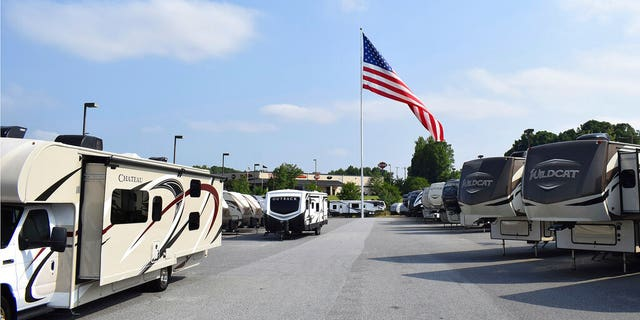 The giant American flag blows at Gander RV, in Statesville, N.C., in an undated photo. (Jennifer Munday/Camping World, AP, File)