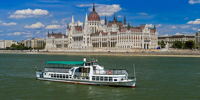 """The boat, called the """"Hableany"""" or Mermaid, in the Danube River in an undated photo. (Zoltan Mihadak/MTI via AP, File)"""