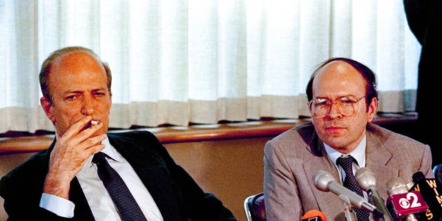 In a file photo of June 11, 1985, Claus von Bulow with lawyer Thomas Puccio at a press conference in the law firms of Strook and Strook and Lavan in New York.
