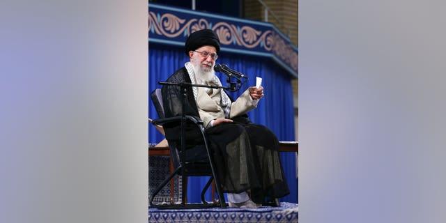FILE: Supreme Leader Ayatollah Ali Khamenei speaks to a group of students in Tehran, Iran.