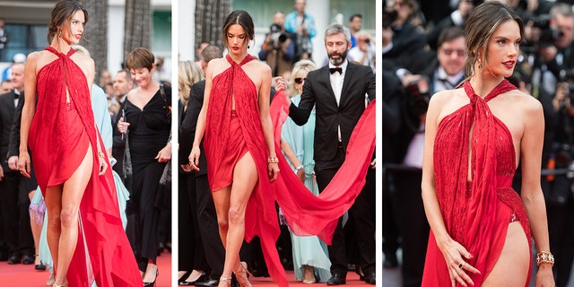 Alessandra Ambrosio walks a red runner for a screening of Les Miserables during a 72nd annual Cannes Film Festival on May 15, 2019 in Cannes, France.