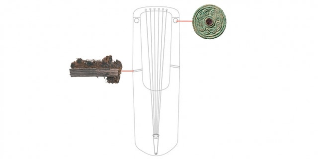A reconstruction drawing of the Anglo-Saxon lyre featuring the delicate repair work and garnet fittings. (MOLA)