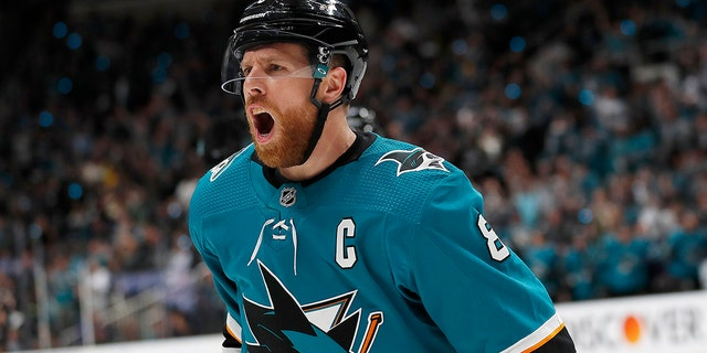 San Jose Sharks center Joe Pavelski (8) celebrates after scoring a goal against the Colorado Avalanche during the first period of Game 7 of an NHL hockey second-round playoff series in San Jose, Calif., on Wednesday. (Associated Press)
