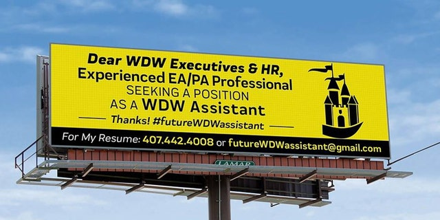Westlake Legal Group Brandon-Fox-Billboard-1-FB Man rents billboard to apply for job at Disney World Michael Hollan fox-news/travel/vacation-destinations/walt-disney-world-orlando fox-news/travel/general/theme-parks fox news fnc/travel fnc ec81350d-b4b9-58a7-b3e7-dcb9cb211cc7 article
