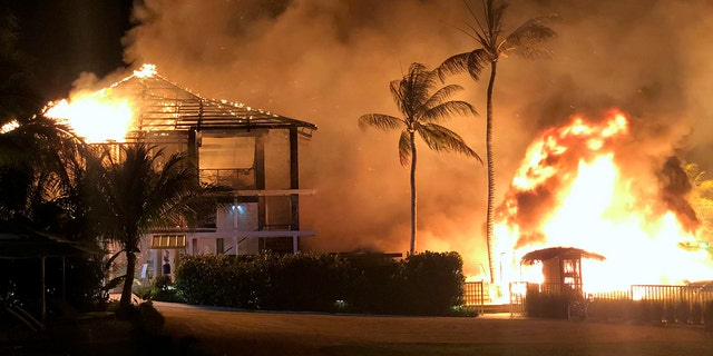 The early morning fire caught extensive damage to the two-storied Beach House.