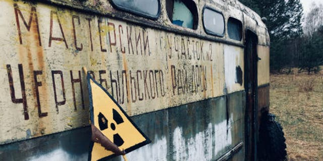 An abandoned bus belonging to the Chernobyl Road Repairing and Building Service. (Tom Scott, University of Bristol)