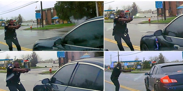 This sequential combination of images from police dash camera shows, from top left, Police Officer Layau Eulizier pointing his weapon at a car being driven at him by Anthony Jose Vega Cruz during an attempted traffic stop on April 20 in Wethersfield, Conn.
