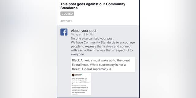 "Facebook temporarily suspended – then restored -- conservative commentator Candace Owens's account this week after she posted about the ""liberal supremacy"" threat to black Americans."