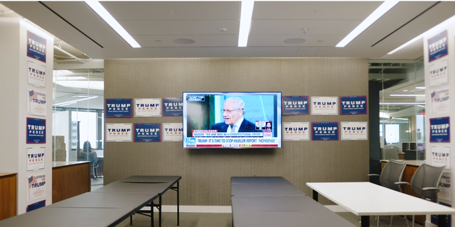The Trump campaign rents the entire floor of a building in Rosslyn with views of the Lincoln Memorial, the Washington Monument, the Capitol and Arlington National Cemetery from staffers' offices. (Zach Trinca/Fox News).