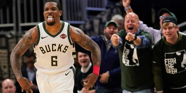 The Milwaukee Bucks' Eric Bledsoe reacts to a basket during the second half of Game 5 of a second-round NBA basketball playoff series against the Boston Celtics on Wednesday in Milwaukee. The Bucks won 116-91 to win the series. (Associated Press)