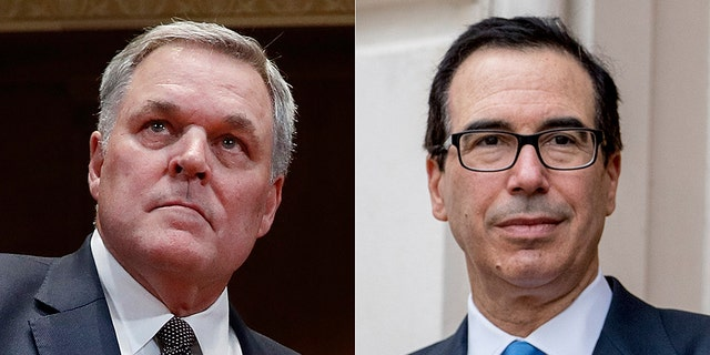IRS Commissioner Charles Rettig, left, and Treasury Secretary Steven Mnuchin, right, are under fire from Democrats for blocking requests for President Trump's tax returns.