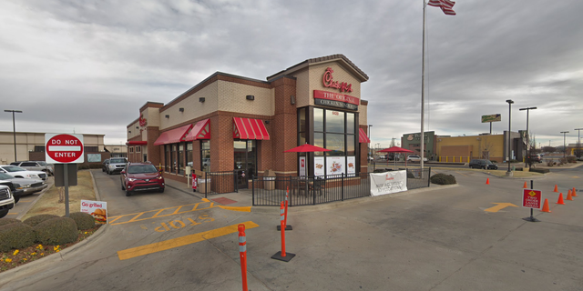 Footage from the Chick-fil-A, reportedly taken on Friday night at a Chick-fil-A location in Oklahoma City, Okla., shows the customers hopping through the window as an employee beckons both inside.