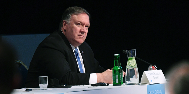 US Secretary of State Mike Pompeo takes part in the 11th Ministerial Meeting of the Arctic Council in Rovaniemi, Finland, Tuesday May 7, 2019. (Mandel Ngan/Pool via AP)