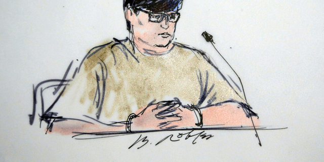 Enrique Marquez appears in federal court in Riverside, Calif., in a sketch dated Dec. 17, 2015. (Associated Press)