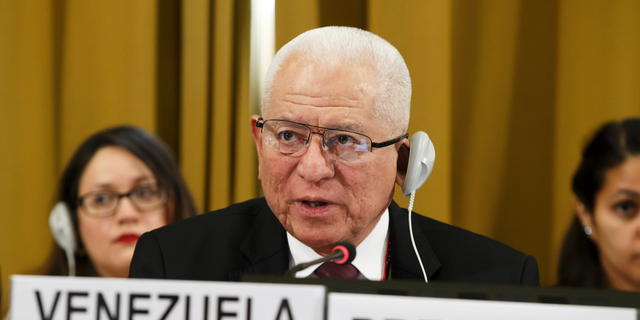 Venezuela's Ambassador Jorge Valero, President of the Conference on Disarmament, delivers a speech, during the Conference on Disarmament, at the European headquarters of the United Nations in Geneva, Switzerland, Tuesday, May 28, 2019. (Salvatore Di Nolfi/Keystone via AP)