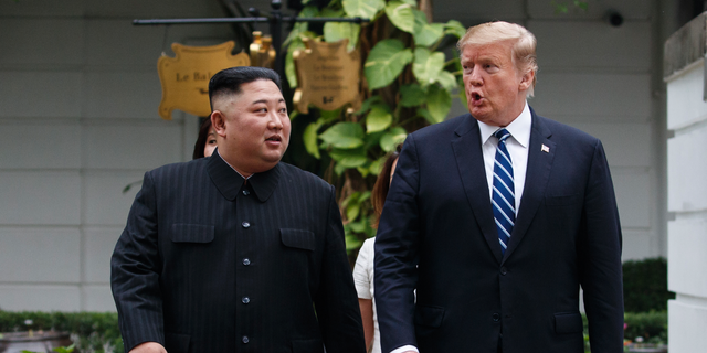 FILE: President Donald Trump and North Korean leader Kim Jong Un make their first meeting at the Sofitel Legend Metropole Hanoi hotel in Hanoi city.