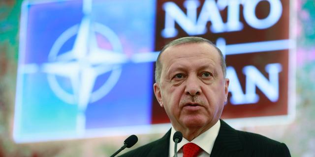رجب طیب اردوغان، رئیس جمهور ترکیه، در نشست گفتگوی مدیترانهی ناتو در آنکارا، ترکیه، روز دوشنبه 6 مه 2019، سخن میگوید. (سرویس مطبوعاتی ریاست جمهوری از طریق AP، استخر)