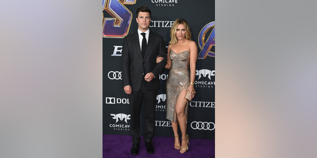 Colin Jost and Scarlett Johansson announced their engagement on Sunday.