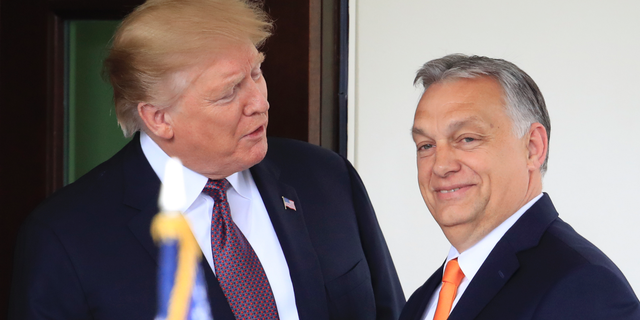 President Donald Trump welcomes Hungarian Prime Minister Viktor Orban to the White House in Washington, Monday, May 13, 2019. (AP Photo/Manuel Balce Ceneta)