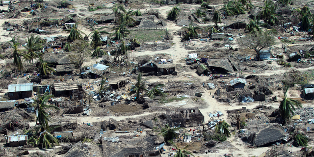 An aerial shot shows widespread destruction caused by Cyclone Kenneth when it struck Ibo island north of Pemba city in Mozambique, May, 1, 2019. (AP Photo/Tsvangirayi Mukwazhi)