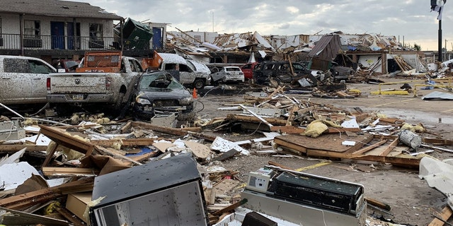 Damage from a tornado is seen in El Reno, Oklahoma on Sunday.