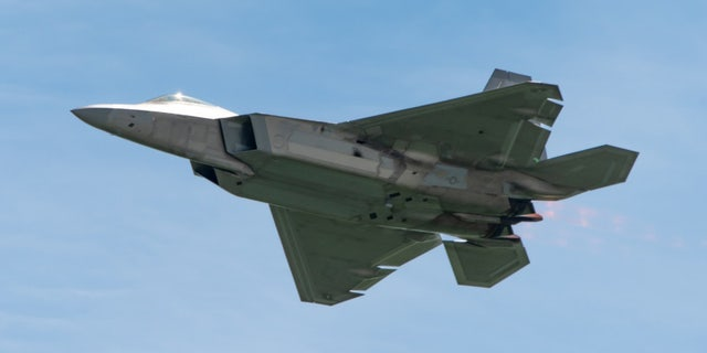 U.S. Air Force Maj. Paul 'Loco' Lopez, F-22 Demo Team commander/pilot, performs a high-speed pass during the Thunder over the Bay air show, March 30, 2019.