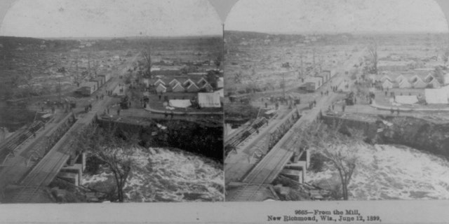 Damage can be seen after a tornado destroyed New Richmond, Wisconsin on June 12, 1899.