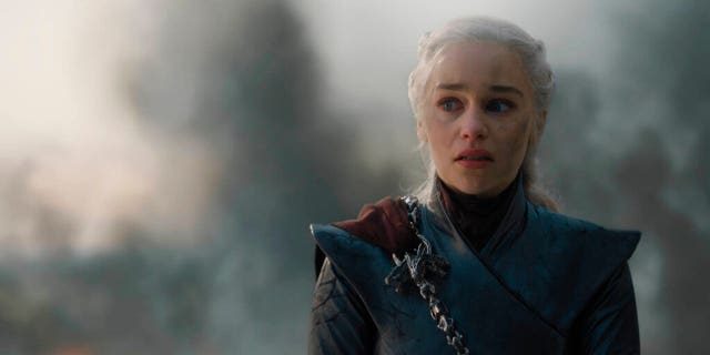 """This image released by HBO shows Emilia Clarke in a scene from """"Game of Thrones,"""" that aired Sunday, May 12, 2019. (HBO via AP)"""