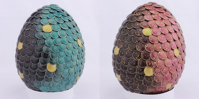 The gender reveal dragon eggs change color to red or blue when heated.