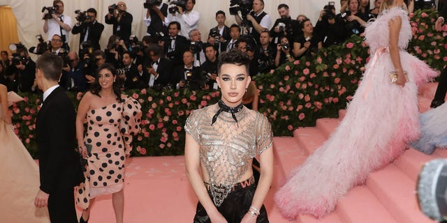 James Charles, seen here at the 2019 Met Gala, began losing Instagram followers after Tato Westbrook blasted him for posting about a rival gummy product.
