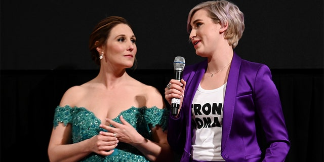 "Trinea Gonczar (L) and Amanda Thomashow speak during the premiere of ""At The Heart Of Gold: Inside the USA Olympics Scandal,"" on April 25, 2019 in New York City."